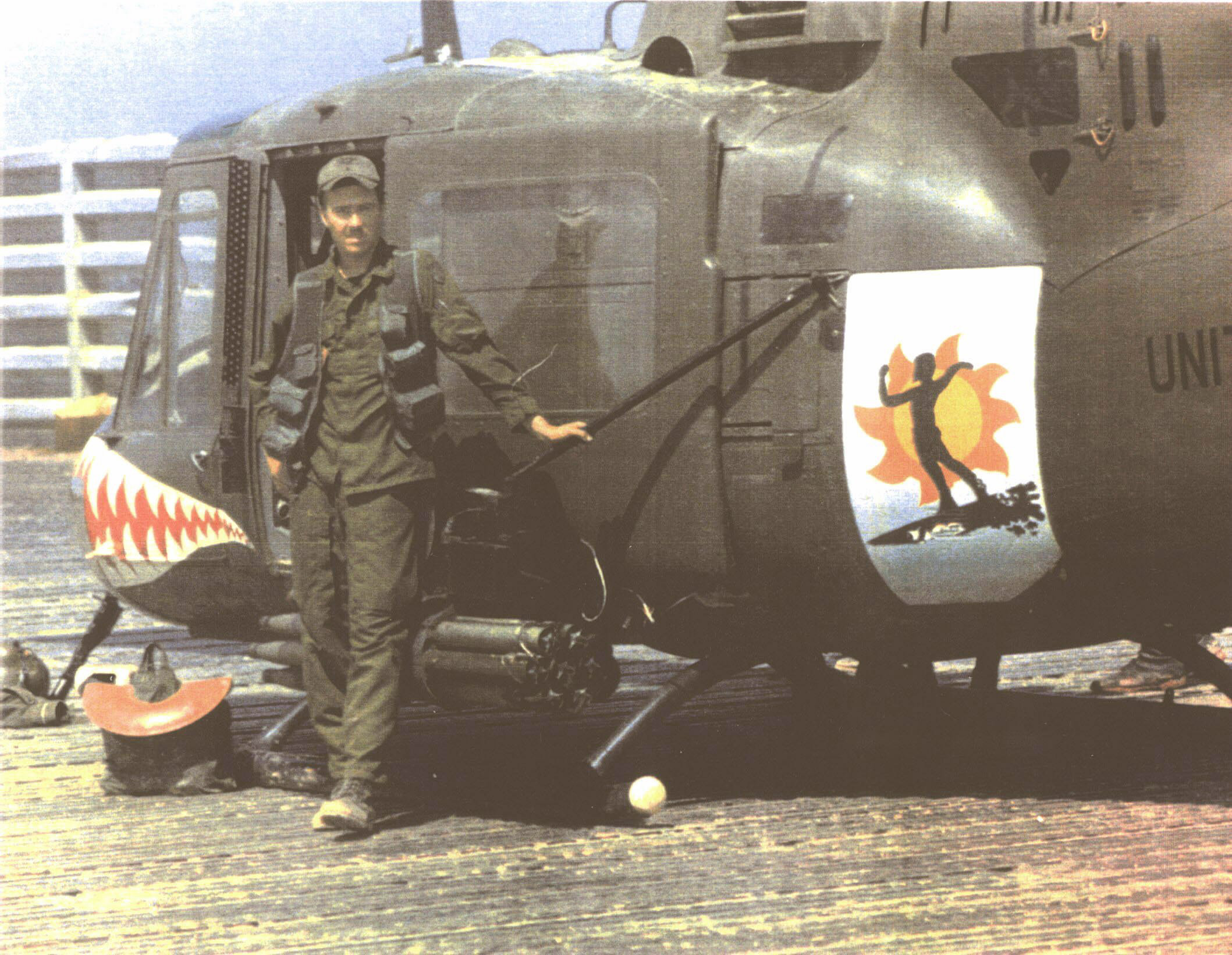 174th ahc vietnam - A Young W01 Fred Thompson With Shark 161 Surfer A Few Days Before The Shoot Down In Laos Note The Personalized Artwork A Surfer Riding The Back Of A