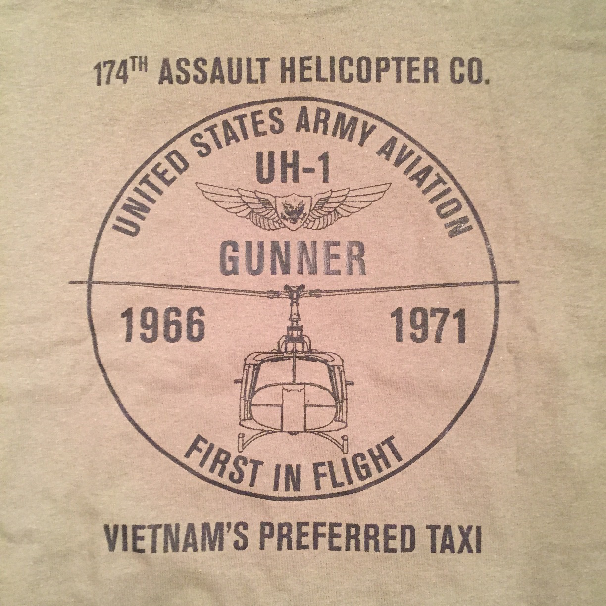 174th ahc vietnam - Od Gunner S T Shirt With Head On Uh 1 On The Front Full Logo On The Back 13 00 Each Only Have M And L Of The Gunners Shirts