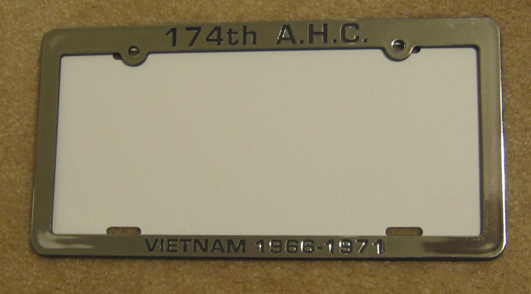 174th ahc vietnam - 174th Ahc License Tag Frame Holder Chrome Plated Plastic With Black Lettering Unlike Some This Frame Does Not Block State Name Or Special Lettering At